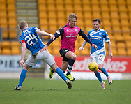 Dundee&rsquo;s Mark O&rsquo;Hara goes past St Johnstone&rsquo;s Danny Swanson and Brian Easton - St Johnstone v Dundee in the Ladbrokes Scottish Premiership at McDiarmid Park, Perth: Picture &copy; David Young<br /> <br />  - &copy; David Young - www.davidyoungphoto.co.uk - email: davidyoungphoto@gmail.com