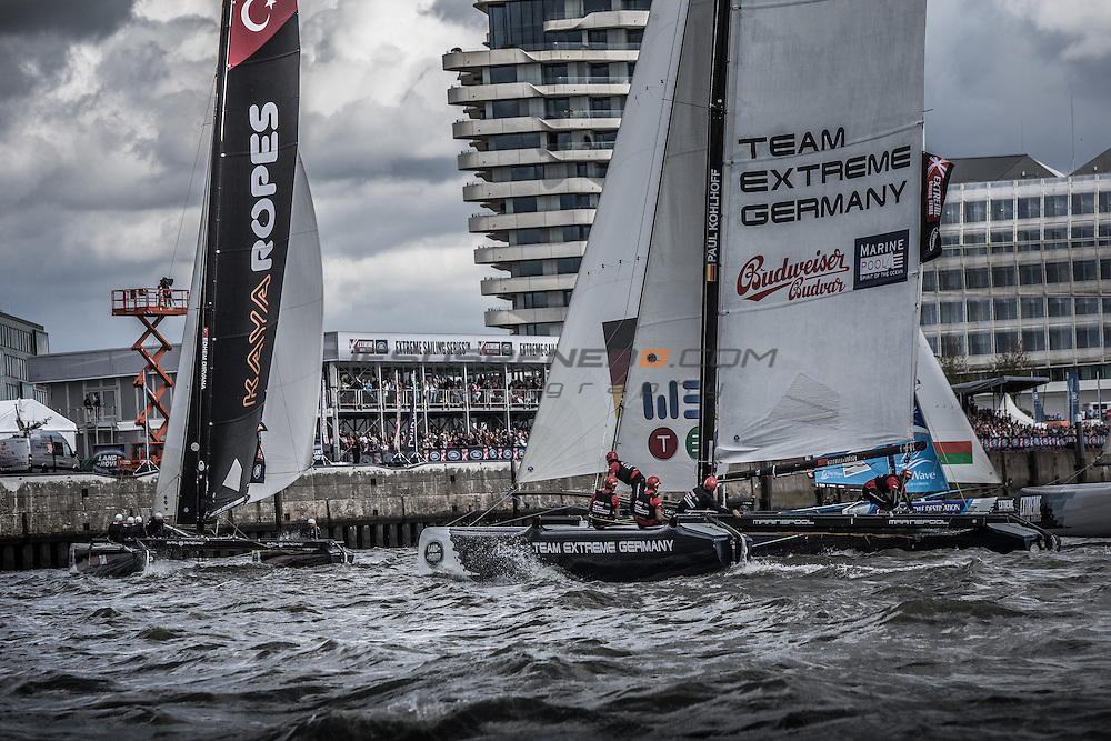 2015 Extreme Sailing Series - Act 5 - Hamburg.<br /> Team Turx skippered by Edhem Dirvana (TUR) and Mitch Booth (AUS) and crewed by Selim Kakis (TUR), Diogo Cayolla (POR) and Pedro Andrade (POR).<br /> Credit Jesus Renedo.