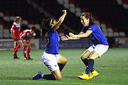Gabby George and Dani Young during the Women's FA Cup fourth round match between Everton Ladies and Bristol Academy ladies at the Select Securities Stadium, Widnes, United Kingdom on 24 March 2015. Photo by Andrew Morfett.