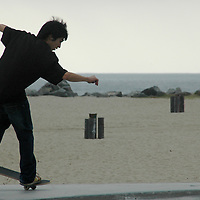 A skateboarder rides in the Venice Beach, Skateboarding Park on January 26, 2006.