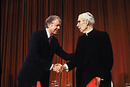 Jimmy Carter with Bishop Fulton Sheen at a prayer breakfast on January 18, 1979<br /> Photo by Dennis Brack