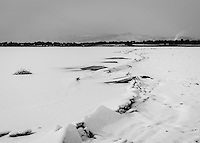 Ice and snow cover McIntosh Lake in Longmont…