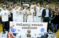 Jaka Klobucar, Brian Greene, Mirza Sarajlija, Mirza Begic, Damjan Rudez, Saso Ozbolt, Junior Harrington, Marko Maravic, Vladimir Golubovic, Aleksej Nesovic, Jure Zdovc and Miha Zupan celebrate at third finals basketball match of Slovenian Men UPC League between KK Union Olimpija and KK Helios Domzale, on June 2, 2009, in Arena Tivoli, Ljubljana, Slovenia. Union Olimpija won 69:58 and became Slovenian National Champion for the season 2008/2009. (Photo by Vid Ponikvar / Sportida)