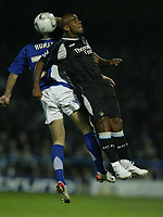 Photo: Aidan Ellis.<br /> Chesterfield United v Manchester City. Carling Cup. 20/09/2006.<br /> City's Trevor Sinclair beats Chesterfield's Kevan Hurst to win the header