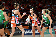 SYDNEY, AUSTRALIA - AUGUST 24: Kim Green of the Giants passes the ball during the round 14 Super Netball match between the Giants and the West Coast Fever at Qudos Bank Arena on August 24, 2019 in Sydney, Australia.(Photo by Speed Media/Icon Sportswire)