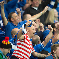Rosenborg v St Johnstone....18.07.13  UEFA Europa League Qualifier.<br /> SAINTS FANS CELEBRATE AT FULL TIME<br /> Picture by Graeme Hart.<br /> Copyright Perthshire Picture Agency<br /> Tel: 01738 623350  Mobile: 07990 594431