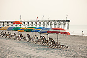 Beach umbrellas on the beach in Myrtle Beach, SC.