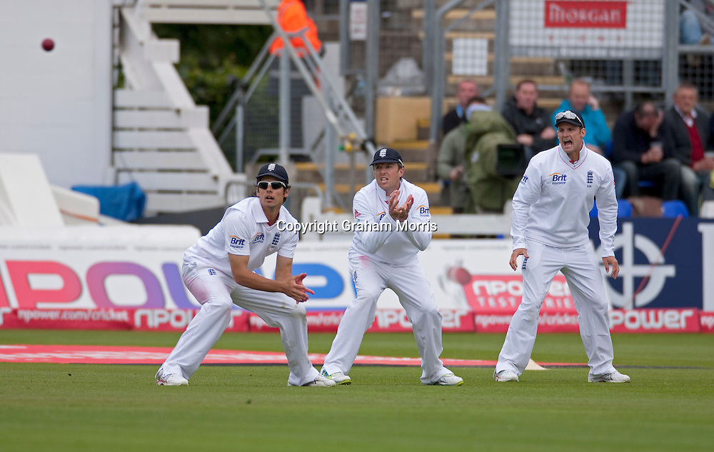 Frustration in the slips (l-r: Alastair Cook; Graeme Swann & captain Andrew Strauss) during the first npower Test Match between England and Sri Lanka at the SWALEC Stadium, Cardiff.  Photo: Graham Morris (Tel: +44(0)20 8969 4192 Email: sales@cricketpix.com) 27/05/11
