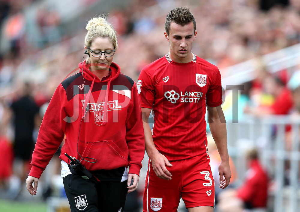 Joe Bryan of Bristol City walks off the pitch injured - Mandatory by-line: Robbie Stephenson/JMP - 17/09/2016 - FOOTBALL - Ashton Gate Stadium - Bristol, England - Bristol City v Derby County - Sky Bet Championship