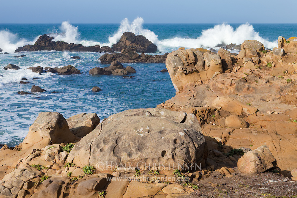 Huge waves crash over offshore sea stacks, Salt Point State Park, California