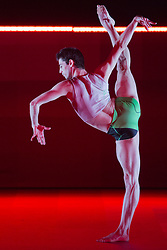 "© Licensed to London News Pictures. 09/10/2013. London, England. Alvaro Dule dancing. World Premiere of ""Atomos"" by Sadler's Wells Associate Artist Wayne McGregor/Random Dance at Sadler's Wells Theatre, London, from 9-12 October 2013. Photo credit: Bettina Strenske/LNP"