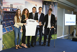 June 14, 2018 - Madrid, Spain - Julen Lopetegui (C) poses with his family after being announced as the new coach of Real Madrid at Santiago Bernabeu Stadium on June 14, 2018 in Madrid, Spain. (Credit Image: © Oscar Gonzalez/NurPhoto via ZUMA Press)