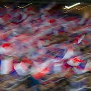PARIS, FRANCE - March 25:  French supporters waving French flags during the France V Iceland, 2020 European Championship Qualifying, Group Stage at  Stade de France on March 25th 2019 in Paris, France (Photo by Tim Clayton/Corbis via Getty Images)