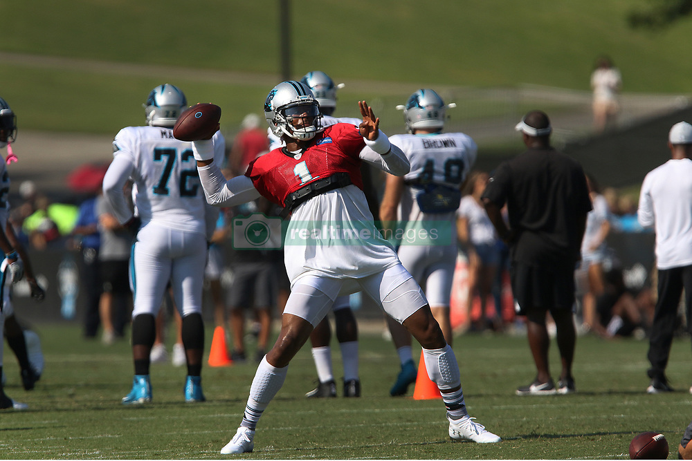 July 28, 2018 - Spartanburg, SC, U.S. - SPARTANBURG, SC - JULY 28: Cam Newton (1) quarterback Carolina Panthers throws a pass during the teams third day of training camp of the 2018 season on Saturday July 28, 2018 at Wofford College in Spartanburg, S.C.(Photo by John Byrum/Icon Sportswire) (Credit Image: © John Byrum/Icon SMI via ZUMA Press)