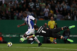 April 18, 2018 - Lisbon, Portugal - Porto's Cameroonian forward Vincent Aboubakar (L) vies with Sporting's goalkeeper Rui Patricio from Portugal during the Portugal Cup semifinal second leg football match Sporting CP vs FC Porto at the Alvalade stadium in Lisbon on April 18, 2018. (Credit Image: © Pedro Fiuza via ZUMA Wire)