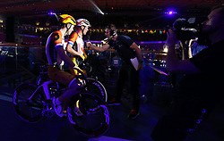 Overall winners Yoeri Havik and Wim Stroetinga during day six of the Six Day Series at Lee Valley Velopark, London