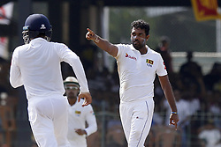 July 22, 2018 - Colombo, Sri Lanka - Sri Lankan cricketer Dilruwan Perera celebrates during the 3rd day's play in the 2nd test cricket match between Sri Lanka and South Africa at SSC International Cricket ground, Colombo, Sri Lanka on Sunday  22 July 2018  (Credit Image: © Tharaka Basnayaka/NurPhoto via ZUMA Press)