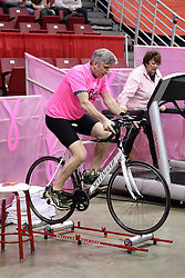 05 February 2016: Mike Blaize rides a regular bike on a framework that allows him to freestyle.  The only thing keeping the bike on the frame is the skill of Mike. Illinois State University Women's Redbird Basketball team hosted the Sycamores of Indiana State for a Play4 Kay game at Redbird Arena in Normal Illinois.