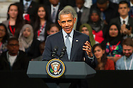 Barack Obama speaks at Lindley Hall, Vincent Square, London, on day three of his tour of the United Kingdom.