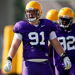 Aug 8, 2013; Baton Rouge, LA, USA; LSU Tigers defensive tackle Christian LaCouture (91) during a fall practice at the McClendon Practice Facility. Mandatory Credit: Derick E. Hingle-USA TODAY Sports