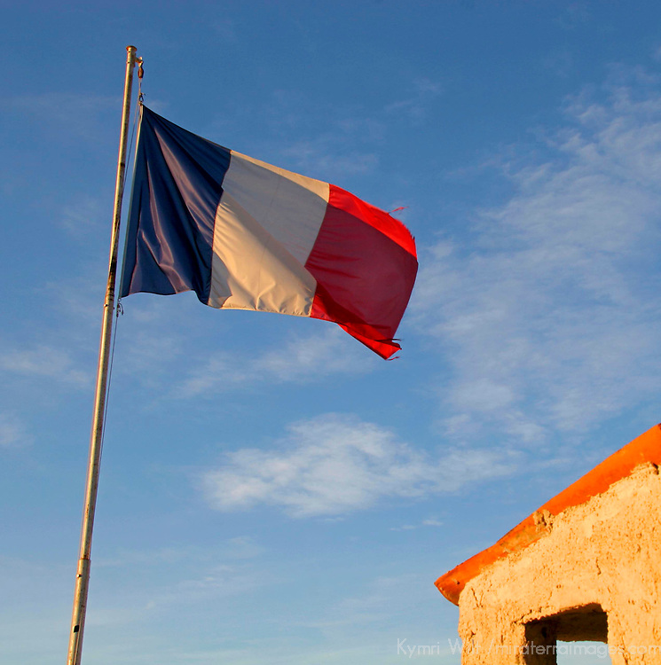 French flag waving over Rocquebrun.