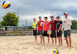 24.05.2017, Sportzentrum Rif, Salzburg, AUT, OESV, Skisprung, Trainingskurs Rif, im Bild Gruppenfoto, v.l.: Manuel Poppinger (AUT), Michael Hayboeck (AUT), Markus Schiffner (AUT), Manuel Fettner (AUT), Stefan Kraft (AUT), Gregor Schlierenzauer (AUT) beim Beachvolleyball spielen // Group Image f.l.: Manuel Poppinger (AUT), Michael Hayboeck (AUT), Markus Schiffner (AUT), Manuel Fettner (AUT), Stefan Kraft (AUT), Gregor Schlierenzauer (AUT) during Beachvolleyball Match during a Trainingscamp of Austrian Skijumping Team at the Sportcenter Rif, Salzburg, Austria on 2017/05/24. EXPA Pictures © 2017, PhotoCredit: EXPA/ JFK