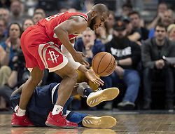 April 23, 2018 - Minneapolis, MN, USA - Houston Rockets' Chris Paul (3) steals the ball from the Timberwolves' Jamal Crawford (11) in the fourth quarter in Game 4 of their series Monday, April 23, 2018 at the Target Center in Minneapolis, Minn. The Rockets won, (Credit Image: © Carlos Gonzalez/TNS via ZUMA Wire)
