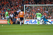 Yan Klukowski of Forest Green Rovers scores the opening goal from the penalty spot during the Skrill Conference Premier match at Kenilworth Road, Luton<br /> Picture by David Horn/Focus Images Ltd +44 7545 970036<br /> 21/04/2014