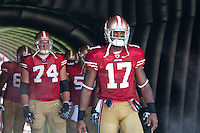 18 September 2011: Wide receiver (17) Braylon Edwards of the San Francisco 49ers stands in the tunnel before his name is called during player introductions before the Cowboys 27-24 overtime victory against the 49ers in an NFL football game at Candlestick Park in San Francisco, CA