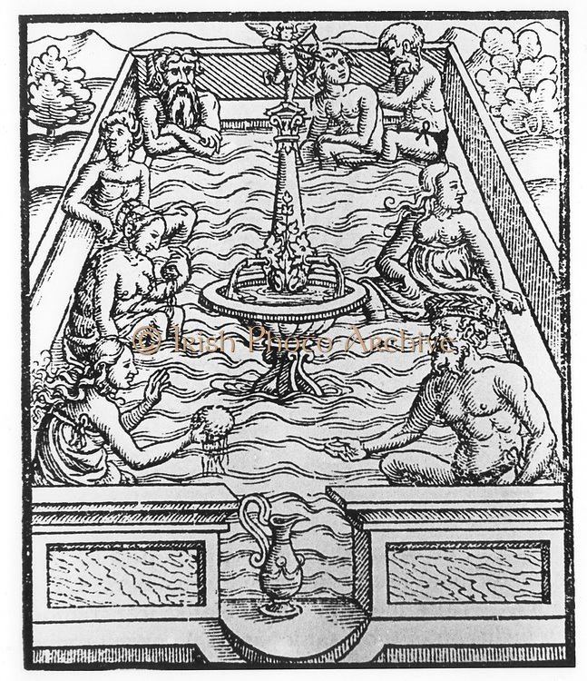 Communal bath. Woodcut from JJ Hugel 'Von heilsamen Badern des Teutschelands ...',  Mullhause, c1559. Mixed public baths were a feature of city life, particularly in many of the German city states, but were banned after syphilis and gonorrhea reached epidemic proportions.