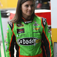 NASCAR Sprint Cup driver Danica Patrick is seen in the pits during the practice session prior to the NASCAR Sprint Unlimited Race at Daytona International Speedway on Saturday, February 16, 2013 in Daytona Beach, Florida.  (AP Photo/Alex Menendez)