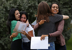 August 17, 2017 - London, LONDON, ENGLAND - LONDON, UK. .LADY ELEANOR HOLLES STUDENTS RECEIVE TOP A LEVEL RESULTS .Students from Lady Eleanor Holles school in Hampton, south-west London react to their Alevel results today. Lady Eleanor Holles School achieved 96% of students passing with grades A*-B. (Credit Image: © Lnp/London News Pictures via ZUMA Wire)