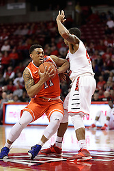 21 November 2015: Caleb Crayton(11) struggles to get past DeVaughn Akoon-Purcell(44). Illinois State Redbirds host the Houston Baptist Huskies at Redbird Arena in Normal Illinois (Photo by Alan Look)