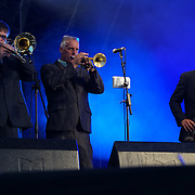 London,England,UK, 17th Aug 2016 : Lee Thompson with Ska Orchestra preforms Under the Stars at Central Park,London,UK. Photo by See Li/Picture Capital