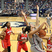 HARTFORD, CONNECTICUT- DECEMBER 19: Napheesa Collier #24 of the Connecticut Huskies challenges Makayla Waterman #24 of the Ohio State Buckeyes for a rebound during the UConn Huskies Vs Ohio State Buckeyes, NCAA Women's Basketball game on December 19th, 2016 at the XL Center, Hartford, Connecticut (Photo by Tim Clayton/Corbis via Getty Images)
