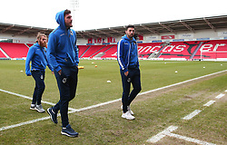 Liam Sercombe, Ryan Sweeney and Stuart Sinclair of Bristol Rovers arrive at The Keepmoat Stadium for his side's fixture against Doncaster Rovers - Mandatory by-line: Robbie Stephenson/JMP - 27/01/2018 - FOOTBALL - The Keepmoat Stadium - Doncaster, England - Doncaster Rovers v Bristol Rovers - Sky Bet League One