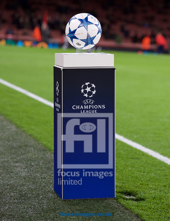 The match ball before the UEFA Champions League match at the Emirates Stadium, London<br /> Picture by Alan Stanford/Focus Images Ltd +44 7915 056117<br /> 24/11/2015