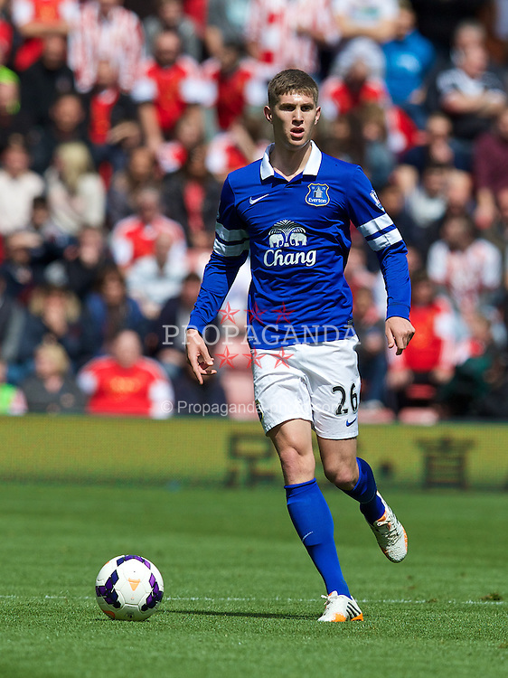 SOUTHAMPTON, ENGLAND - Saturday, April 26, 2014: Everton's John Stones in action against Southampton during the Premiership match at St Mary's Stadium. (Pic by David Rawcliffe/Propaganda)