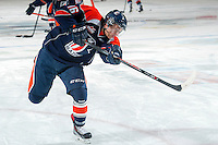 KELOWNA, CANADA -FEBRUARY 1: Nick Chyzowski LW #16 of the Kamloops Blazers takes a shot during warm up against the Kelowna Rockets on February 1, 2014 at Prospera Place in Kelowna, British Columbia, Canada.   (Photo by Marissa Baecker/Getty Images)  *** Local Caption *** Nick Chyzowski;