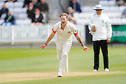 Wicket - Lancashire's Kyle Jarvis celebrates as he bowls Somerset's Craig Overton during the Specsavers County Champ Div 1 match between Somerset County Cricket Club and Lancashire County Cricket Club at the County Ground, Taunton, United Kingdom on 3 May 2016. Photo by Graham Hunt.
