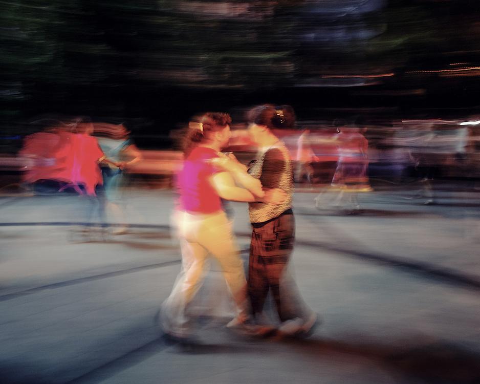 Night dance at a public square.
