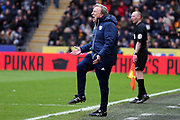 Cardiff City Manager Neil Warnock  gets carried away during the EFL Sky Bet Championship match between Hull City and Cardiff City at the KCOM Stadium, Kingston upon Hull, England on 28 April 2018. Picture by Mick Atkins.