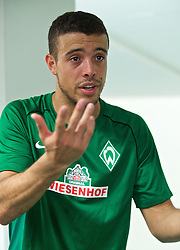 01.07.2015, Weserstadion, Bremen, GER, 1. FBL, SV Werder Bremen, Trainingsauftakt, im Bild Franco Mat&iacute;as Di Santo / Franco Matias Di Santo (SV Werder Bremen #9) beim Interview // during a Trainingssession of German Bundesliga Club SV Werder Bremen at the Weserstadion in Bremen, Germany on 2015/07/01. EXPA Pictures &copy; 2015, PhotoCredit: EXPA/ Andreas Gumz<br /> <br /> *****ATTENTION - OUT of GER*****