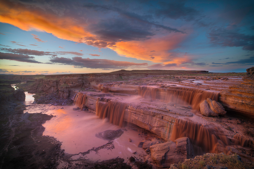 The monsoon rains in Northern Arizona rise the water level of the Little Colorado River and make for spectacular chocolate waterfalls. Photo taken shortly after sunset.