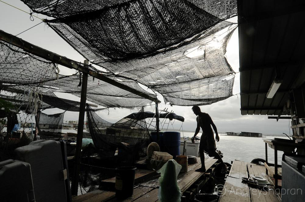 The floating fish farm in Singapore