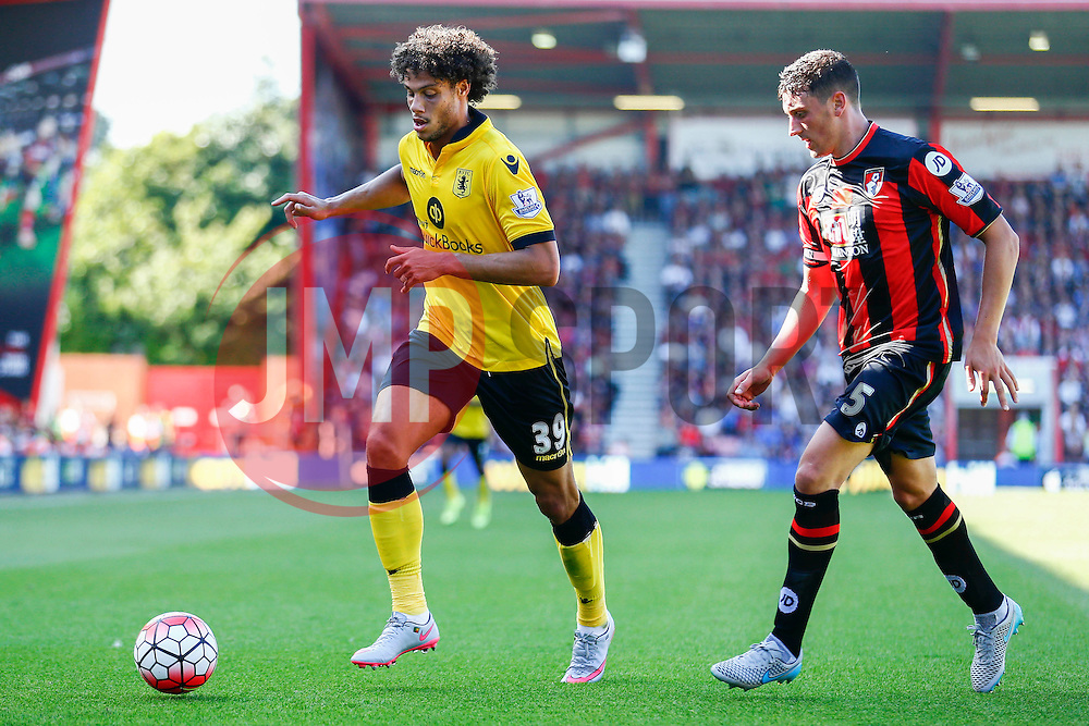 Rudy Gestede of Aston Villa under pressure from Tommy Elphick of AFC Bournemouth - Mandatory by-line: Jason Brown/JMP - Mobile 07966 386802 08/08/2015 - FOOTBALL - Bournemouth, Vitality Stadium - AFC Bournemouth v Aston Villa - Barclays Premier League - Season opener