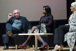 © Licensed to London News Pictures . 27/11/2014 . Manchester , UK . L-R FA Chairman Greg Dyke , TV journalist Gillian Joseph and Chair of the Muslim Women's Sports Foundation , Rimla Akhtar at a public forum on Tackling Discrimination in Football , at Manchester University . The debate , sponsored by race equality think tank , The Runnymede Trust , addressed issues of racism and homophobia in soccer . Photo credit : Joel Goodman/LNP