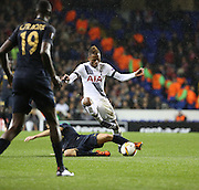 Tottenham Hotspur attacker Clinton Njie avoiding a tackle during the Europa League match between Tottenham Hotspur and Monaco at White Hart Lane, London, England on 10 December 2015. Photo by Matthew Redman.