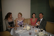 Lily Cole, Jade Parfitt and Jasmine Guinness, Natalia Vodianova and Elle Macpherson host a dinner in honor of Francisco Costa (creative Director for women) and Italo Zucchelli (creative director for men)  of Calvin Klein. Locanda Locatelli, 8 Seymour St. London W1. ONE TIME USE ONLY - DO NOT ARCHIVE  © Copyright Photograph by Dafydd Jones 66 Stockwell Park Rd. London SW9 0DA Tel 020 7733 0108 www.dafjones.com