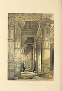 View Under the Grand Portico of the Temple of Philae, Nubia, Egypt. By David Roberts  from The Holy Land : Syria, Idumea, Arabia, Egypt & Nubia by Roberts, David, (1796-1864) Engraved by Louis Haghe. Volume 4. Book Published in 1855 by D. Appleton & Co., 346 & 348 Broadway in New York.